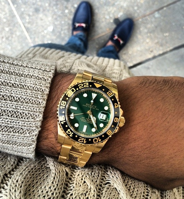 Rolex GMT Master II Replica Yellow Gold Green Dial