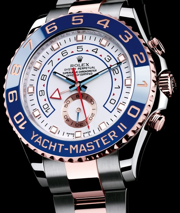 Rolex Replica YachtMaster II Blue Bezel Two Tone Rose Gold Braceelt