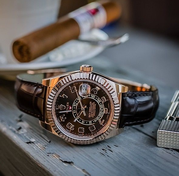 Rolex Sky Dweller Replica Rose Gold Case Brown Leather Strap