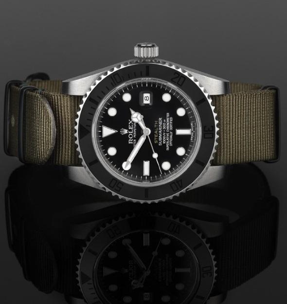 Rolex-Submariner-Stealth-Replica-Olive-NATO-Strap