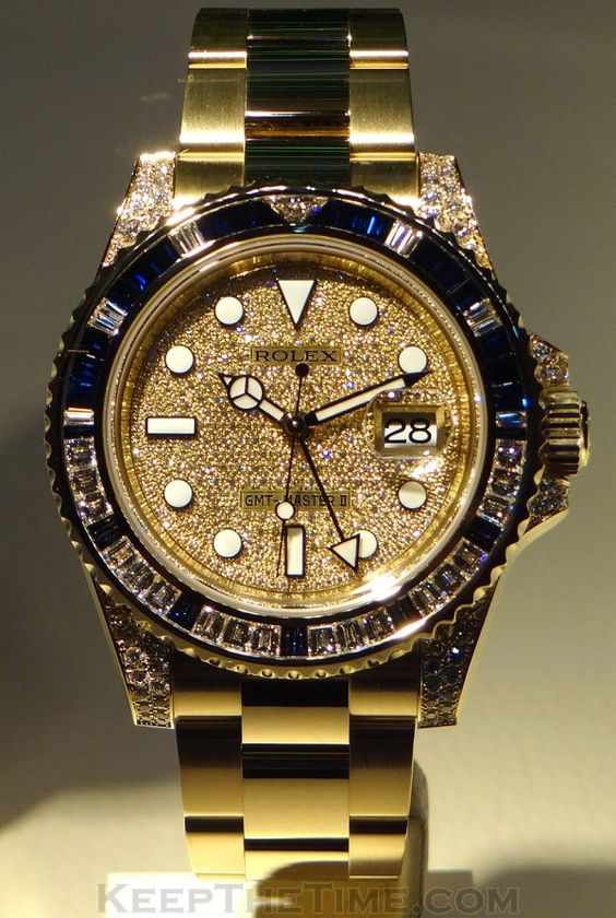 replica Rolex GMT Master II - 18k Gold & Diamonds