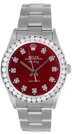 rolex airking red diamond face