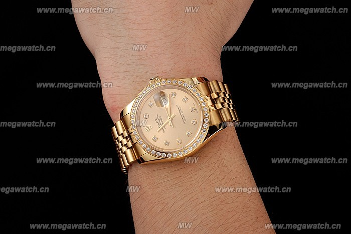 Swiss Rolex Datejust Champagne Dial Diamond Bezel Gold Jubilee Bracelet 1454098 Replica Review!